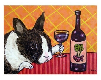 Bunny Rabbit at the Wine Bar Art Print 8x10