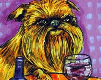 Brussels Griffon at the Wine Bar Dog Art Print