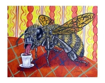 Bee at the Coffee Shop Insect Art Print
