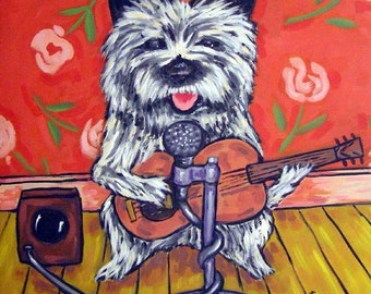 Cairn Terrier Playing the Guitar Dog Art Tile Coaster Gift