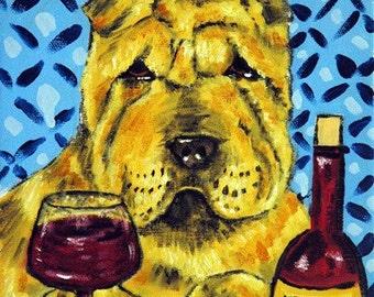Shar Pei art, shar pei print, shar pei dog, 8x10 print, wine, gift for wine lover, modern dog art, folk art