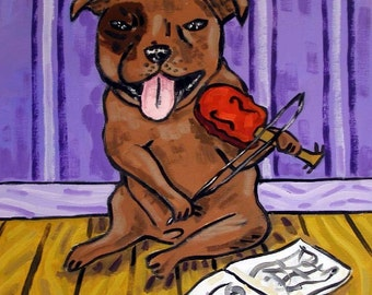 Pit Bull TILE - violin - pit bull art - dog tile - ceramic coaster - gift - modern folk art - pit bull art - tile - coaster - PRINT on tile