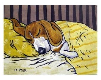 Beagle Sleeping Dog Art Print