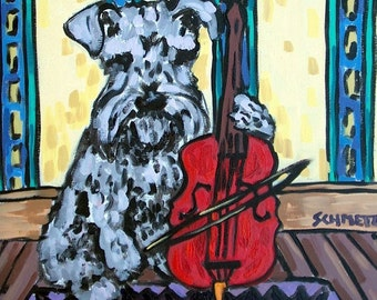Schnauzer Playing  Cello Dog Art Tile Coaster gift