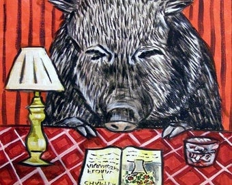 Javelina Reading Animal Art Tile