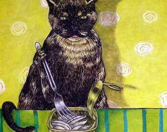 Tortoise Shell Cat Eating Sardines Art Tile
