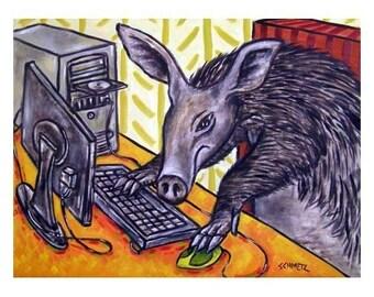 Aardvark Working on a Computer Art Print 8x10