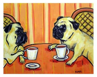 Pug at the Cafe Dog Art Print