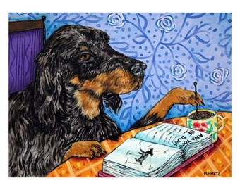 Gordon Setter at the Coffee Shop Dog Art Print