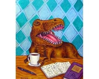 Tyranosaurus at the coffee Shop Dinosaur Art Print