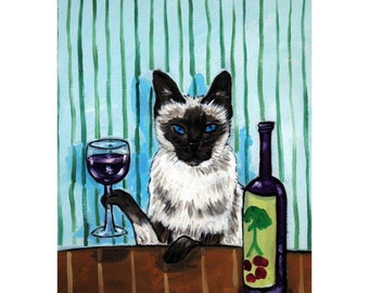 Siamese Cat at the Wine Bar Cat Art Print