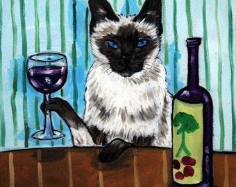 Siamese Cat - art - tile - ceramic coaster - gift - wine , wine art , wine print on tile, cat art, folk art