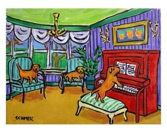 Border Terrier Piano Concert Dog Art Print