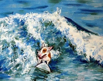 Bull Terrier Surfing Dog Art Print