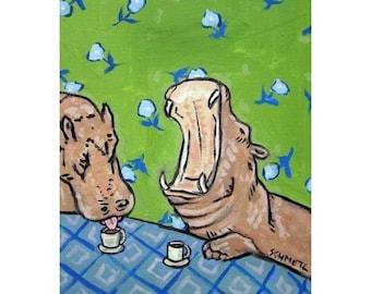 Hippopotamus at the COFFEE Shop Art Print  JSCHMETZ modern abstract folk pop art american ART