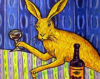 bunny art,rabbit print on tile,wine,wine art, wine tile, gift, modern folk art, bunny tile, rabbit tile,ceramic coaster