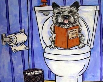 Cairn Terrier in the Bathroom Dog Art Tile Coaster Gift JSCHMETZ MODERN abstract folk pop art AMERICAN art