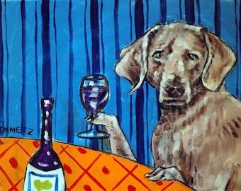 Weimaraner, weimaraner art, weimaraner print, print, wine, wine art, wine print, modern folk art