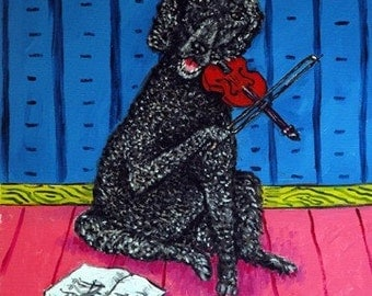 Poodle Playing the Violin Dog Art Tile Coaster Gift