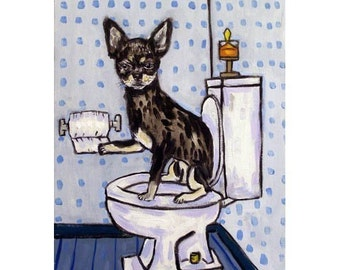 Chihuahua  - dog - art - print - poster - gift - bathroom - 11x14 print - modern folk art