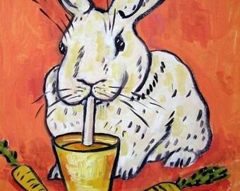 Bunny Drinking Carrot Juice Rabbit Art Tile