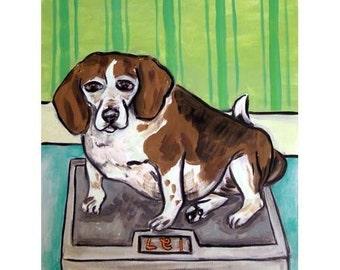 Beagle on a Diet Dog Art Print