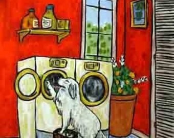 Great Pyrenees Doing the Laundry Dog Art PRint 8x10