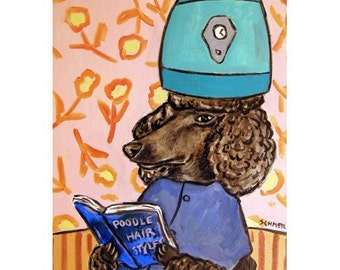 Poodle at the  Salon Dog Art Print