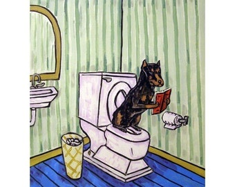 Doberman Pinscher in the Bathroom Dog Art Print