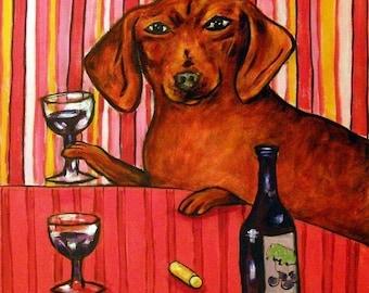 dachshund, dachshund art, wine, wine art, PRINT on tile, ceramic coaster, gift, modern dog art, dachshund print on tile, wine tile, dog tile