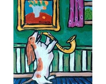 Basset Hound Playing the Saxophone Dog Art  Print