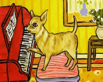 Chihuahua Playing the Piano Dog Art Tile Coaster