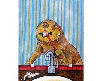 Beaver, bathroom , art, PRINT, poster , gift, modern, folk, brushing teeth, dentist,