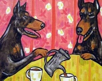 Doberman Pinscher Tea Tine Dog Art Tile