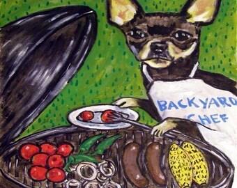 Chihuahua at the Cook Out Dog Art TILE Coaster JSCHMETZ modern abstract folk pop art american ART gift