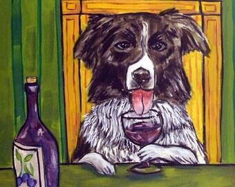 Border Collie at the Wine Bar Dog Art Tile Coaster