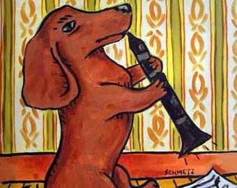 Dachshund PRINT - 11x14 dog art PRINT poster gift , clarinet, dachshund art, dog, art