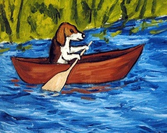 Beagle Riding a Canoe Dog Art Tile Coaster gift