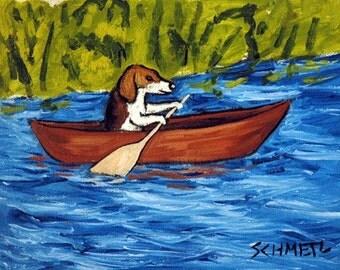beagle art - Beagle in a Canoe Dog Art Print - beagle gifts