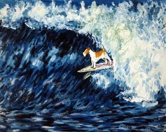 Fox Terrier Surfing Dog Art Print