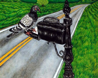 Pigeon Mail Delivery Bird  Animal Art Print