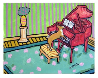 Basenji Playing the Piano Dog Art Print