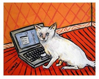 art PRINT, white cat, cat, cat art, computer,  cat, cat PRINT, gift, cat gift, modern, folk