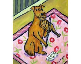 Irish Terrier Playing the Violin Dog Art Print   JSCHMETZ modern abstract folk pop art AMERICAN ART gift