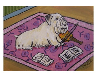 Sealyham Terrier Playing the Violin Dog  Art Print