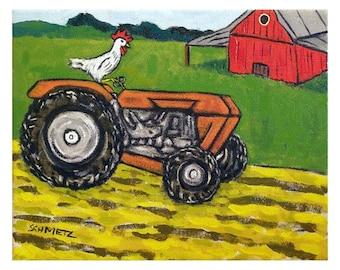 Chicken on the farm Art Print