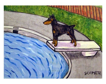 Doberman Pinscher at the Pool Dog Art Print