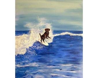 Black Labrador Retriever Surfing Art Print