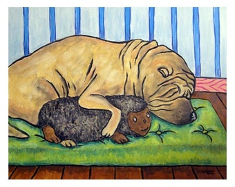 Shar Pei Sleeping With a Toy Dog Art Print