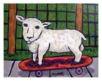 Lamb on a skateboard Sheep Art Print